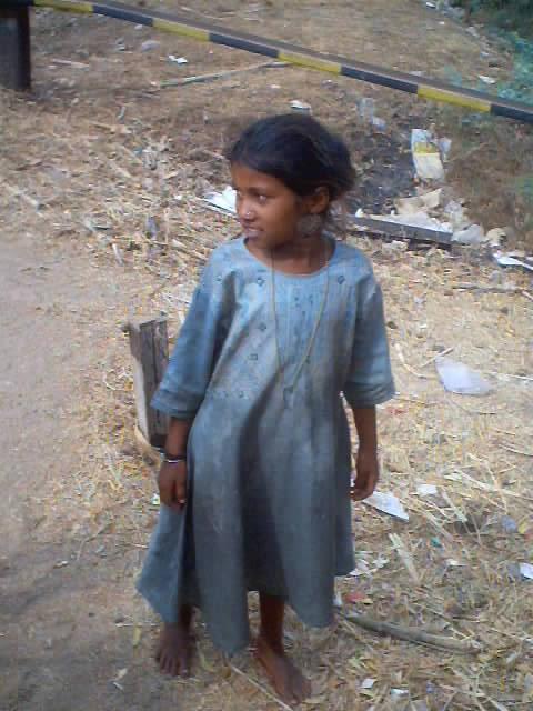 Train Tracks And Little Beggar Girl Hampi And Hospet India