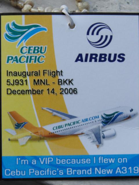 Cebu Pacific Manila Bangkok Inaugural Flight