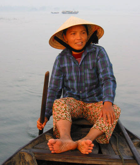Em, our private boat rower in Hoi An, Vietnam title=