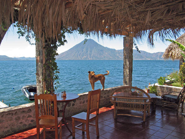 Indoor outdoor living in the tropics. This is a spectacular view from a restaurant on the shores of Lago Atitlan, Guatemala.