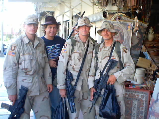 Andy Graham in Dohuk, Iraq with American Soldiers.