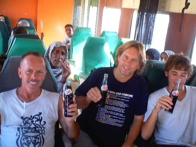 Andy Graham with Chris and Peter on Train from Baghdad Iraq to Basra.