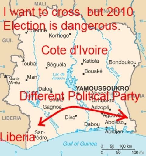 Cote d'Ivoire Ivory Coast Map