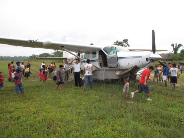 Arriving by Planet to Breu, Peru from Pulcapa a village close to Uncontacted Tribes on Amazon River