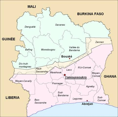 Map of Political Divisions of Ivory Coast