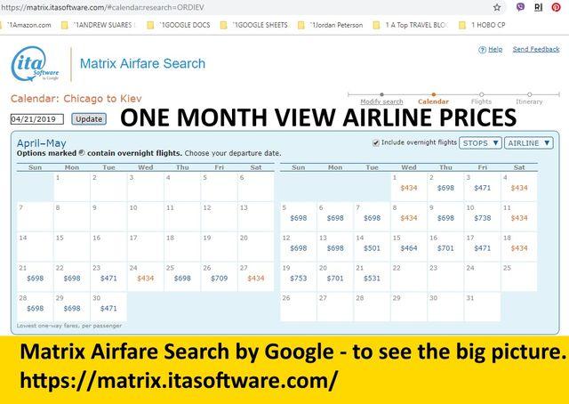 Google Flight Matrix