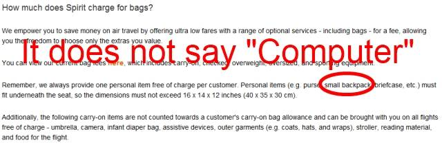 Spirit Air Baggage Fees