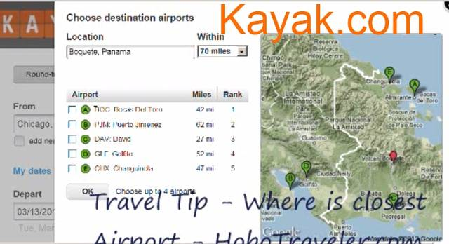 How to Find the Closest Airport to Your Travel Destination using Kayak.Com. title=