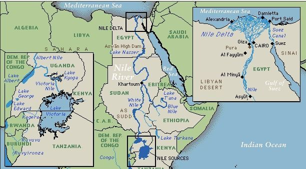 Maps Of Nile Rivers Influence On Ethiopia - Map of egypt showing nile river