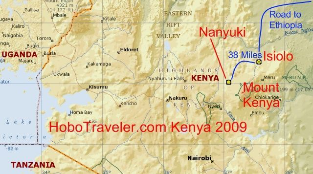 Map Isiolo To Nanyuki Kenya
