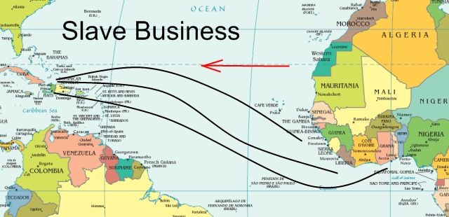 """the triangular trade route Of the trading routes formed a triangle when plotted on a map, thus the name """"triangular trade"""" one triangle began with colonial merchants transporting flour, meat, and other."""