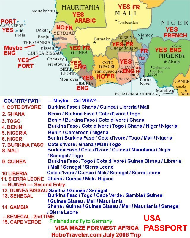 Map and list of countries that maybe I can get a Visa for,