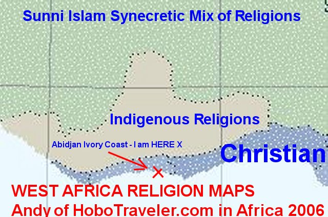 Natural Africa Travel Paths Religion Map West Africa Ivory Coast