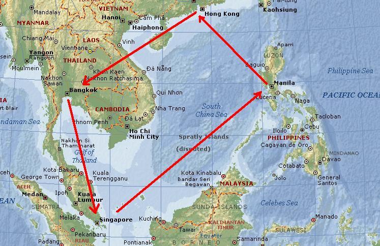 Bangkok To Singapore Manila Macau Hong Kong Mapbangkoksingapore Thailand
