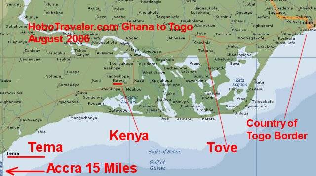 Tema Ghana Towards Togo Map Tema To Lome Togo Ghana