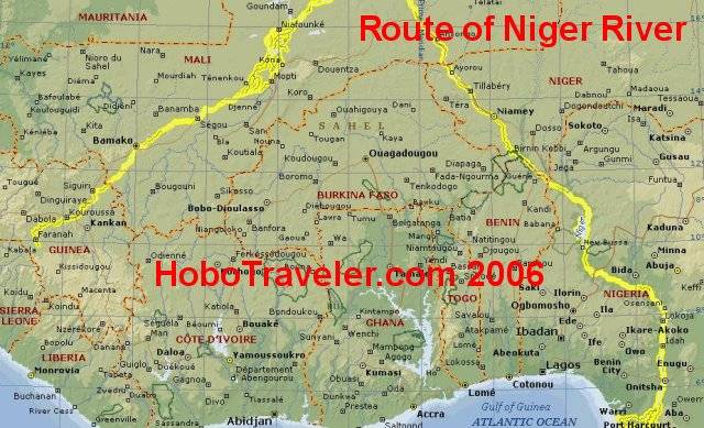 Niger River Map - Niver River Map, Benin