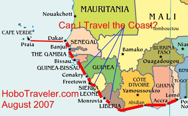 Is Togo To Senegal By The Coast Possible Lome To Senegal Map Togo