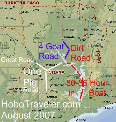 Akosombo To Yeji To Tamale Ghana Ghana Boat Trip Map Ghana