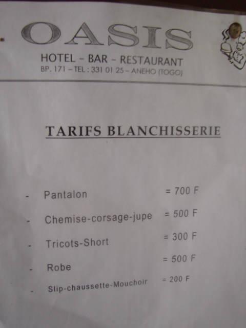 Hotel Laundry List Laundry Price List Togo