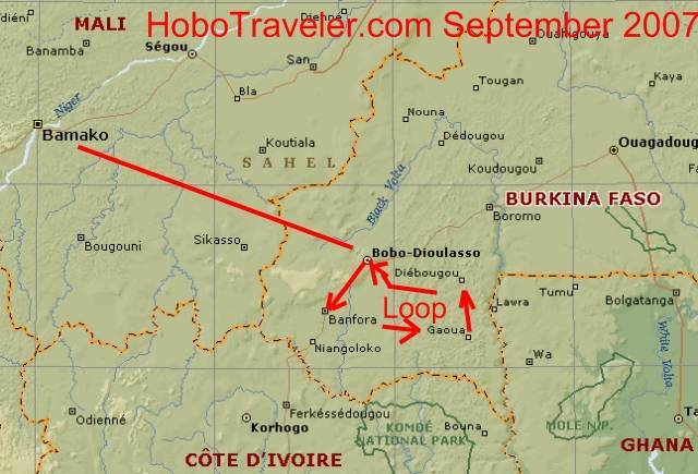 Banfora Gaoua Diebougou Bobo Loop Map Of Burkina Faso Loop