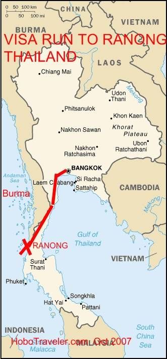 Ranong Thailand Visa Run Map Bangkok To Ranong Thailand