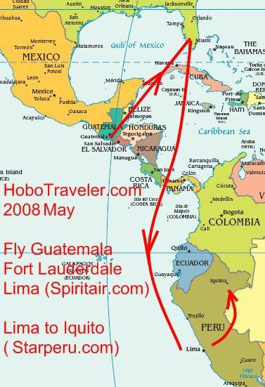 Map of Travel to Iquitos Peru