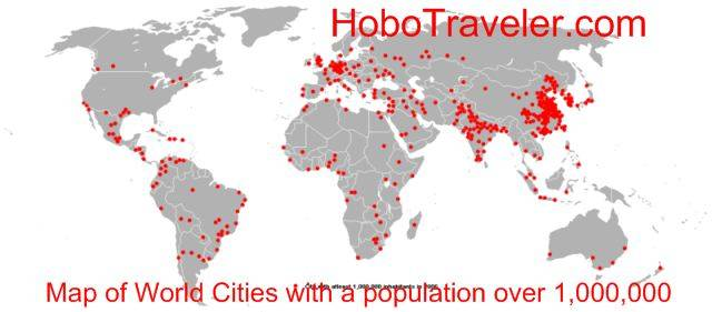 Map of World Cities with a population over 1000000