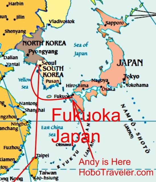 2008 september 30 enter japan leave s korea i am here in fukuoka and not tokyo because fukuoka is at 33 degrees above the equator and tokyo is at about maybe around 35 i am trying to get back to gumiabroncs Images