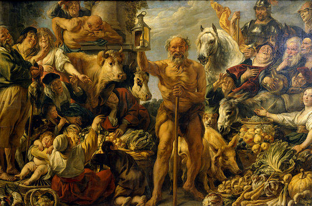 Diogenes with lantern, looking for one honest man.