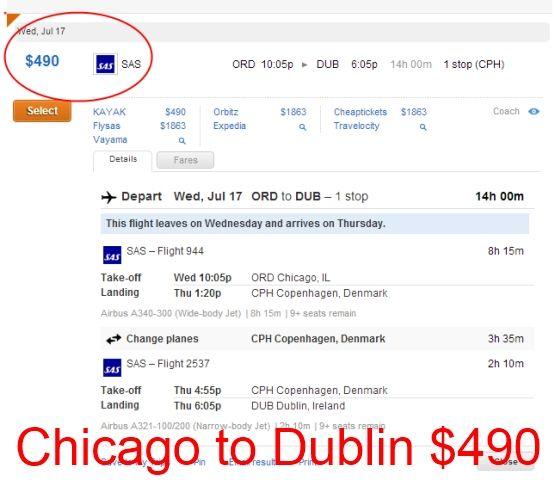 Chicago to Dublin Flight
