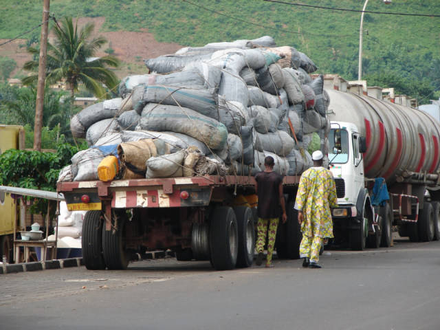 This is a truck full of bags of Charcoal