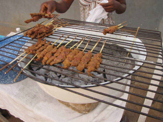 Brochettes In Lome Togo West Africa on Chacoal Grill title=