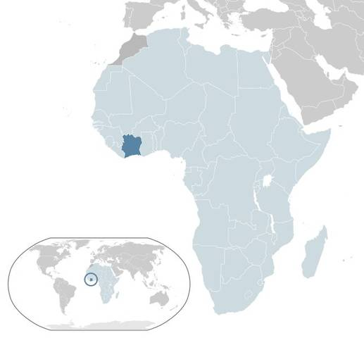 Where is Cote d'Ivoire or Ivory Coast located in Africa? title=