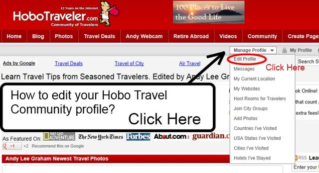 Edit Profile on Hobo Blog