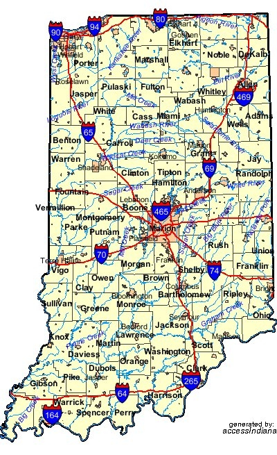 INDIANA MAP USA - Indiana map of usa