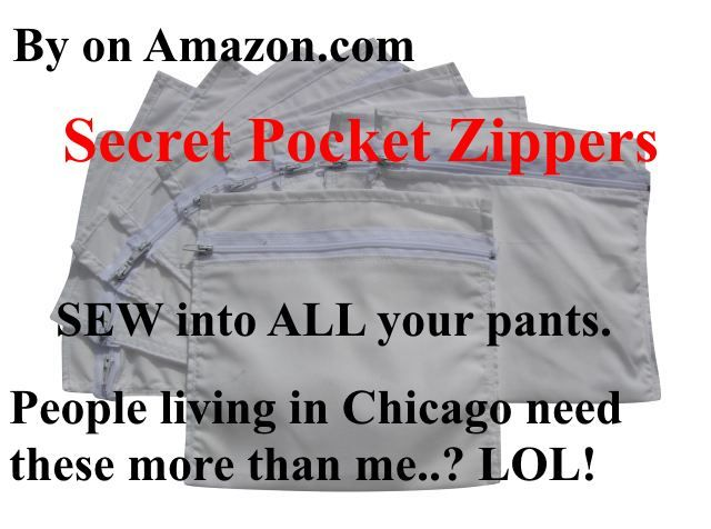 Secret Pocket zippers No Money Belt Needed