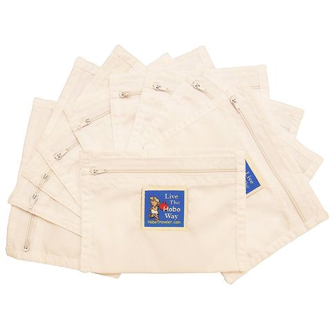 HoboTraveler.com 10 pack of Sew-In Secret Pockets    Passport Size Beige