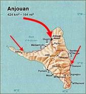 Map of Anjouan on the  2008 invasion