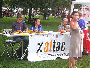 An ATTAC stall at the Volksstimmefest, Vienna, Austria.