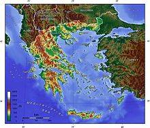 Topographical map of Greece