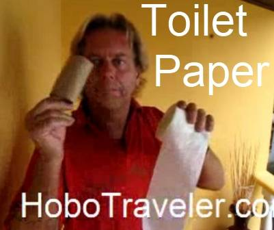 Tear Out the Core of Toilet Paper to Make the Roll Smaller and Use Up Less Volume in Backpack Travel Tip. title=