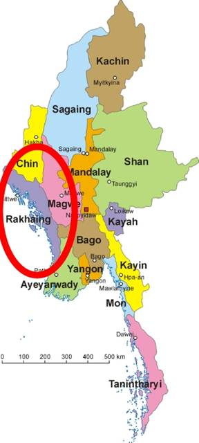 The Rakihine State in Burma, where the Monks are fighting back.