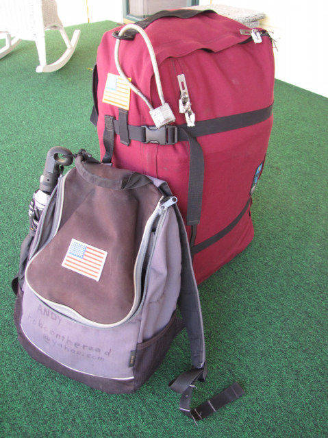 American Flag on Backpack. title=