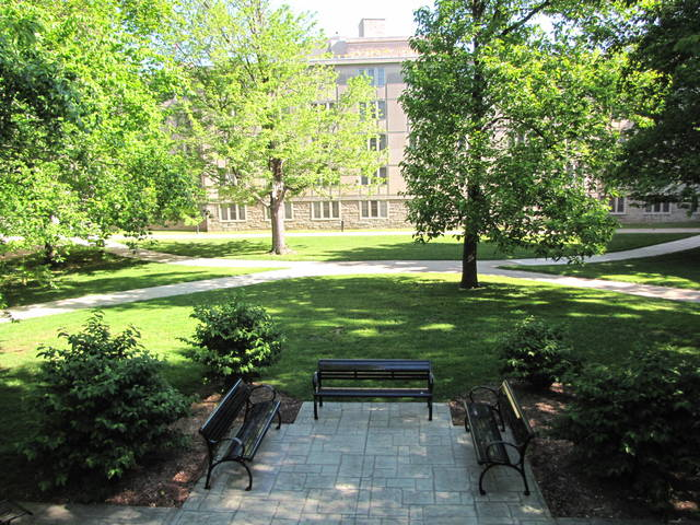 The courtyard at McNutt Quad of Indiana University Bloomington.