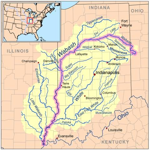 Route of Wabash River in Indians onto Ohio.