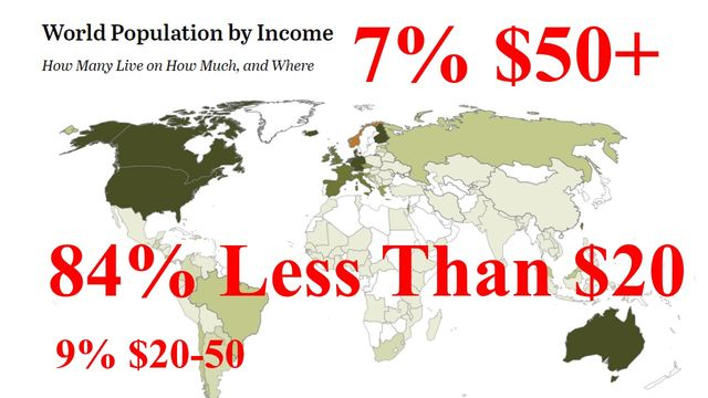 84 percent of planet earns less than 20 USD per month.