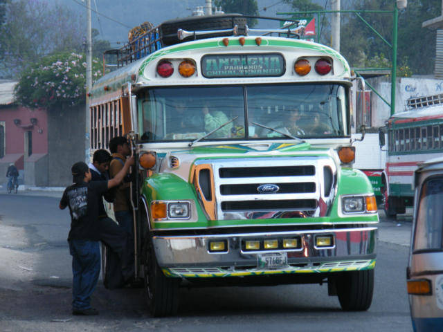 Chicken Bus loading in Jocotenango Guatemala