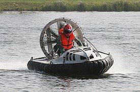 Hovercraft racing at the river