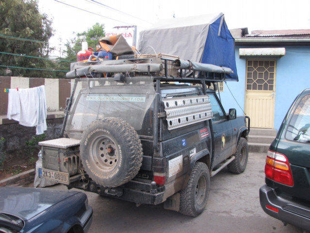 Improvised Jeep with things on its roof