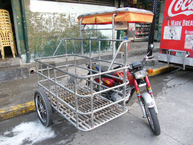 Improvised motorcycle for cargo